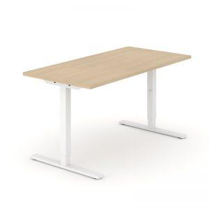 ONE H manuāli regulējams galds ar baltu rāmi un balināta ozola tekstūras virsmu