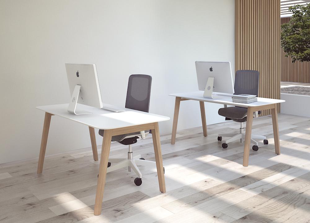 Darba zona ar NOVA Wood galdiem un WIND krēsliem