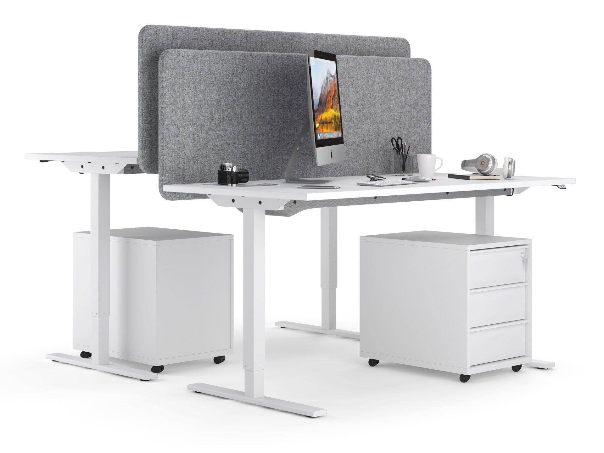 ONE H manuāli augstumā regulējams galds ar akustistiskajām starpsienām