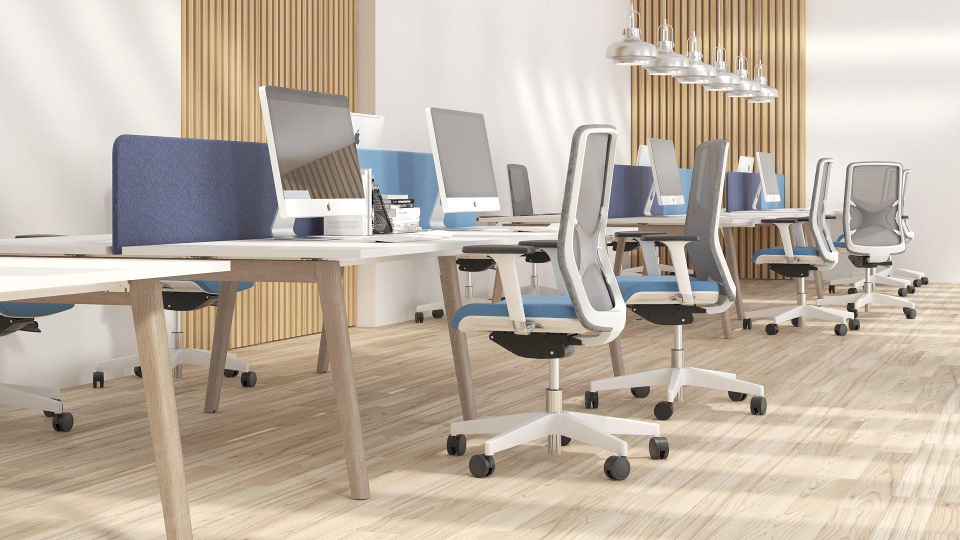 NOVA Wood darba galds ar akustiskajām starpsienām un biroja galdiem