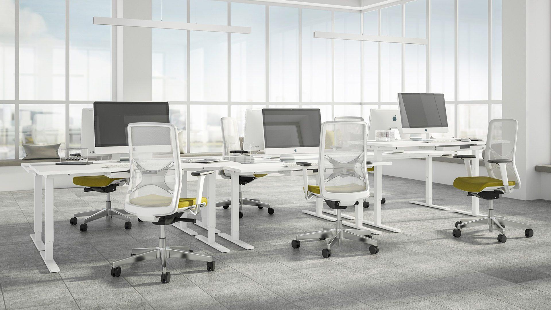 ONE H manuāli augstumā regulējams galds ar WIND darba galdiem