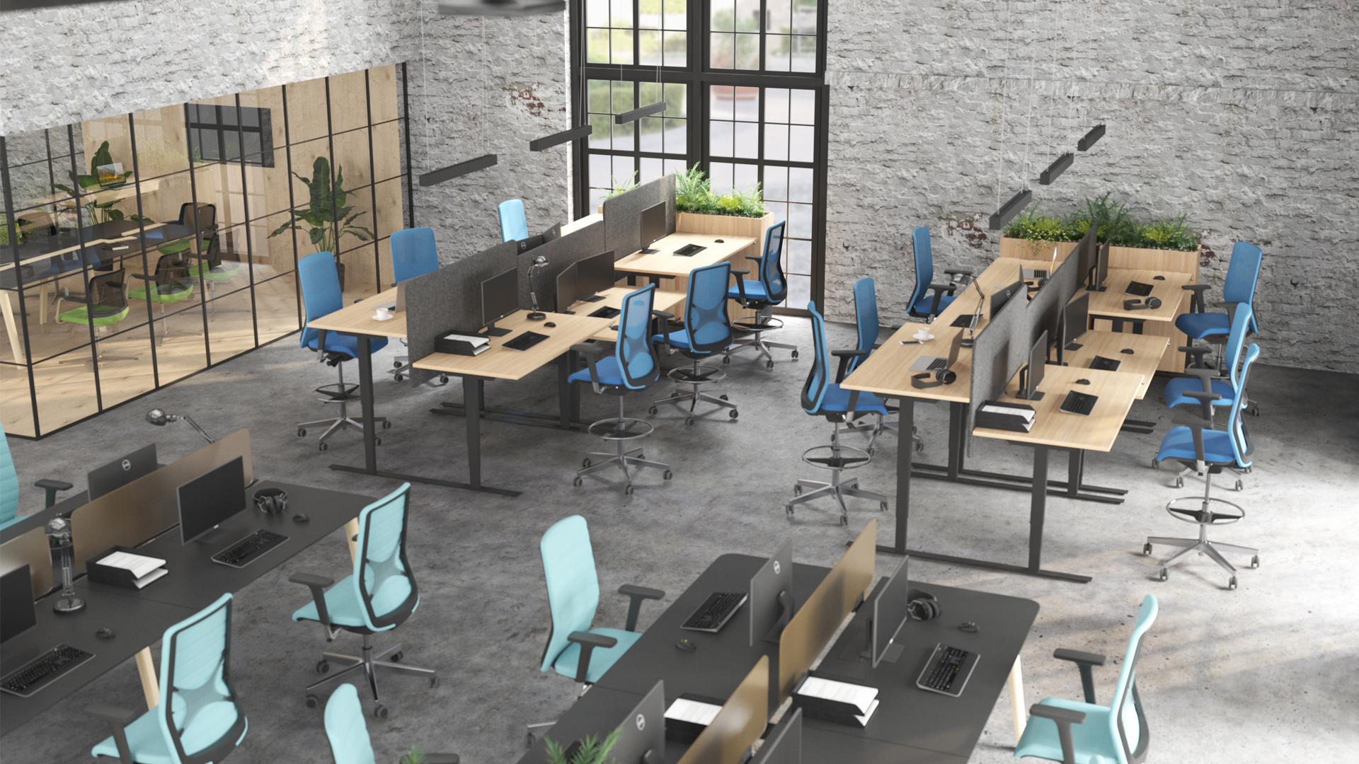 WIND biroja krēsls ar NOVA Wood galdu un augstajiem WING krēsliem pie EASY galdiem
